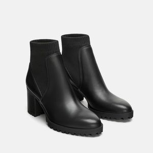 NWT • Zara • Sock Style Heeled Ankle Boots